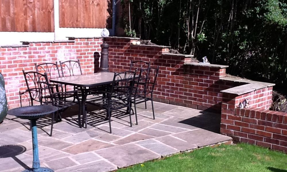 small patio installation with table and chairs